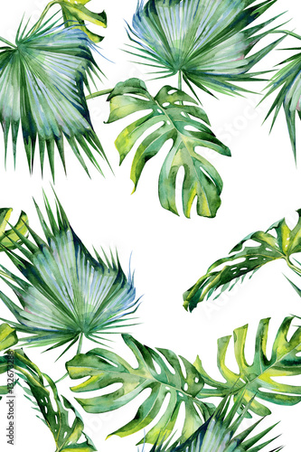 Plissee mit Motiv - Seamless watercolor illustration of tropical leaves, dense jungle. Hand painted. Banner with tropic summertime motif may be used as background texture, wrapping paper, textile or wallpaper design. (von annaveroniq)
