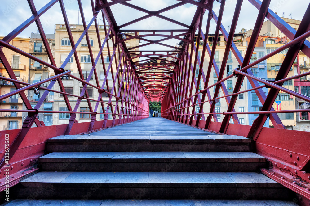 Eiffel Bridge in City of Girona Poster