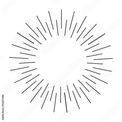 Fotografie, Obraz  Sun rays hand drawn, vector illustration