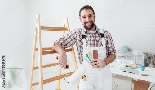 Professional painter posing