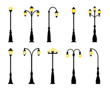 Vintage Streetlights. Vector R...