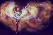 Woman Dancing Waving Fantasy Flame Dress, Flying Fabric Dance As Fire In Dark