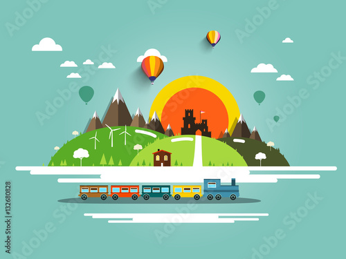 Poster Turquoise Flat Design Landscape with Steam Train, Old Castle and Hot Air Balloons