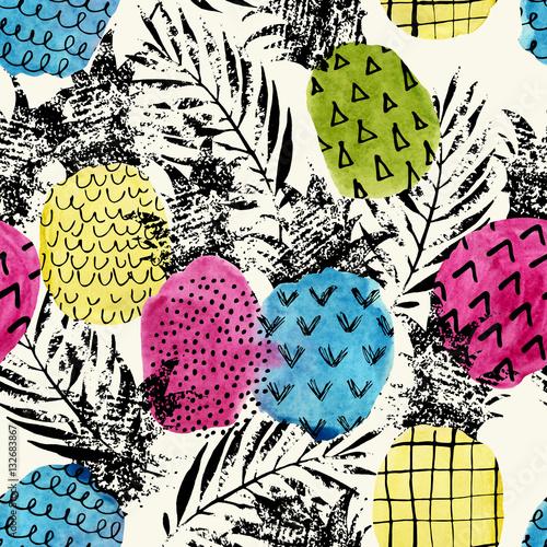 kolorowe-ananasy-akwarela-grunge-tekstura-z-powielonym-wzorem