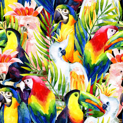 Panel Szklany Natura watercolor parrots seamless pattern