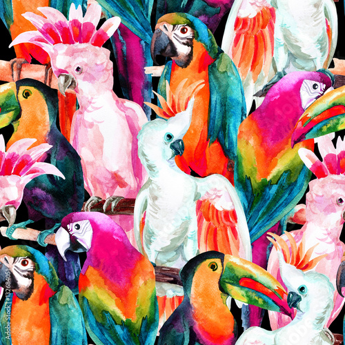 Obraz na plátně watercolor parrots seamless pattern