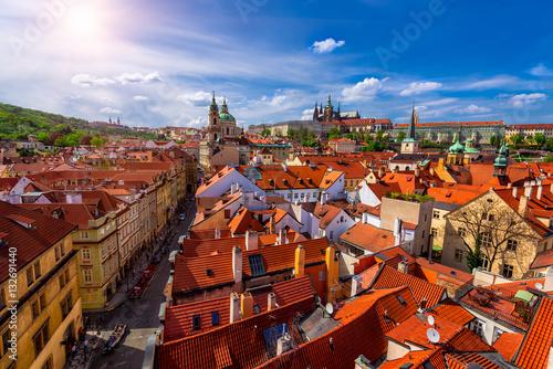 Poster Prague Mala Strana (Lesser Town of Prague) and Prague Castle. Prague, Czech Republic