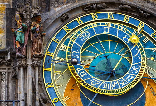 Deurstickers Praag Astronomical Clock Orloj in the Old Square of Prague. Czech Republic
