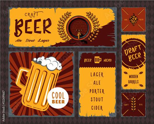 Fototapeta Vintage craft beer vector banner set obraz na płótnie