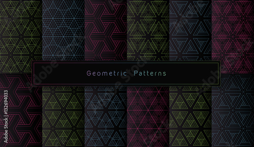 fototapeta na ścianę vector set of twelve acid polygonal geometric seamless patterns on black background. minimalistic style.