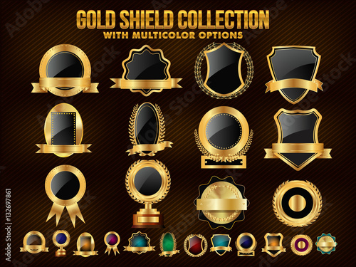 Fotografie, Obraz  Collection of Golden Shield, Stickers, Labels or Ribbons.