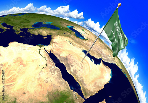 Saudi Arabia national flag marking the country location on world map ...