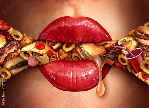 Eating Addiction Concept Canvas Print