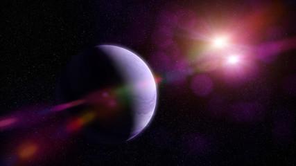 beautiful purple gas planet orbiting two bright stars