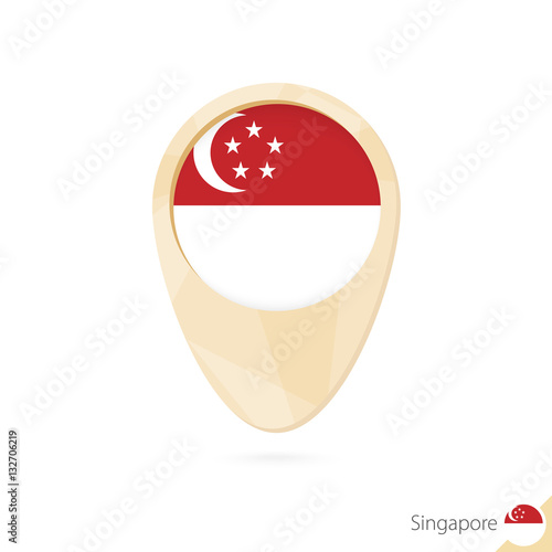 Map pointer with flag of Singapore. Orange abstract map icon. Poster