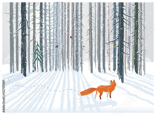Photo  Winter forest landscape with a Fox.