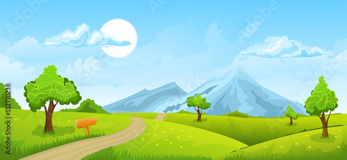 Deurstickers Lime groen Rural summer landscape