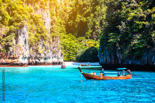 Maya bay Phi Phi Islands andaman sea Krabi, South of Thailand. Canvas Print