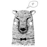 Hand drawn cute bear hand illustration. Ink sketch with wild animal - bear with bow tie, cheeks and speech bubble with heart