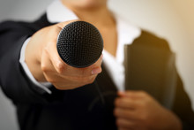 Woman Making Speech With Microphone