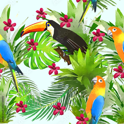 Foto auf AluDibond Ziehen Seamless pattern with tropical flowers in watercolor style.