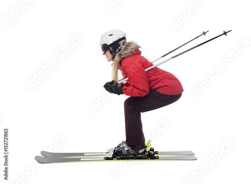 Fotografía  Attractive girl skier on white background.