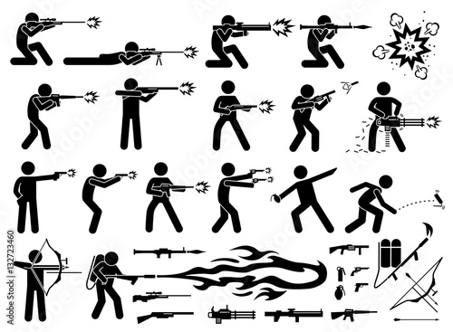 Man attacks with various weapons that includes sniper rifle, RPG, bazooka, M16 machine gun, shotgun, grenade launcher, chain machine gun, pistol, hand grenade, flash bomb, arrow bow, and flamethrower Wallpaper Mural