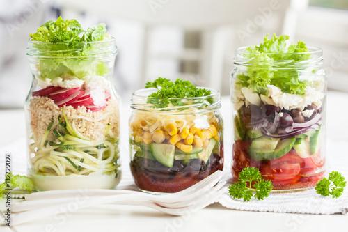 Fotografia, Obraz  healthy vegetable cheese salad in mason jars