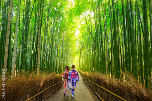 Poster de jardin Bambou Arashiyama bamboo forest in Kyoto Japan