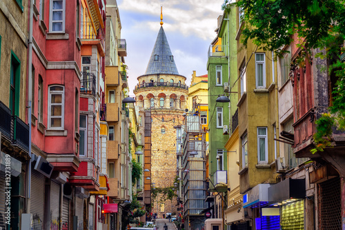 Galata Tower in old town, Istanbul, Turkey Canvas Print