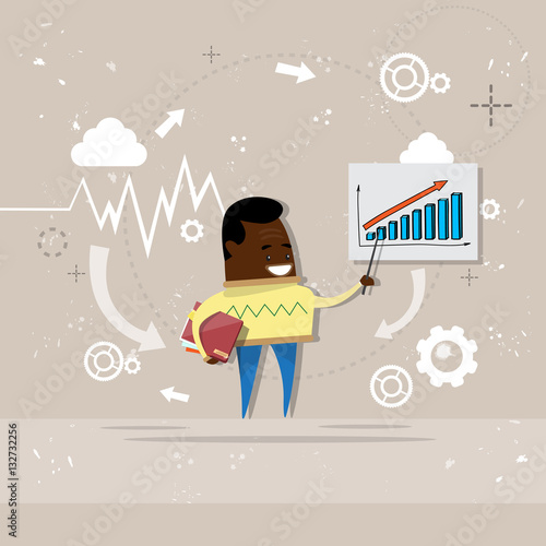 Poster Retro sign African American Business Man Showing Finance Chart Graph Report Vector Illustration