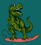 Fototapeta Dino - happy dinosaur surfer wearing sunglasses drawing.