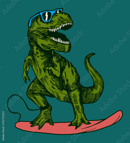 Photo  happy dinosaur surfer wearing sunglasses drawing.