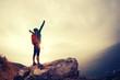Leinwanddruck Bild - successful hiker hiking on seaside mountain peak
