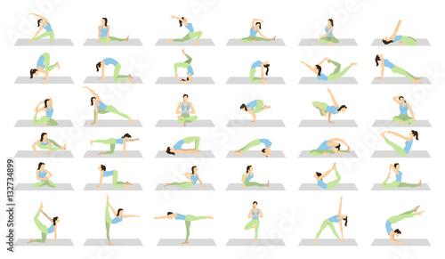Fotografia Yoga workout for women set on white background