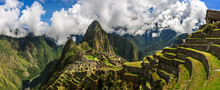Picturesque Panoramic View Of Terraces Of Machu Picchu.