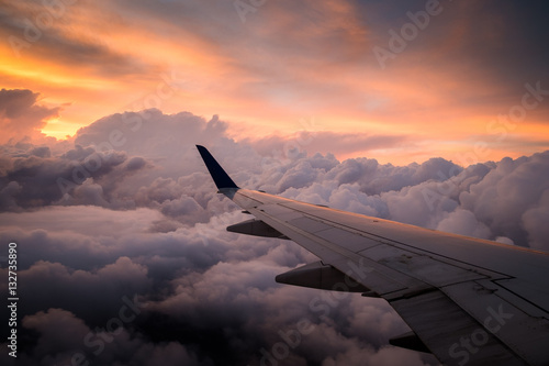 Airplane sunset Wallpaper Mural