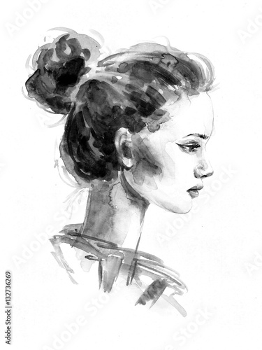 fashion watercolor portrait