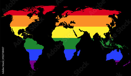 Gay pride flag in the world map lgbt movement flag consisting of gay pride flag in the world map lgbt movement flag consisting of six rainbow gumiabroncs Images
