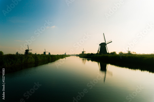 Fotografering  Traditional dutch windmills in countryside at Kinderdijk, Rotter