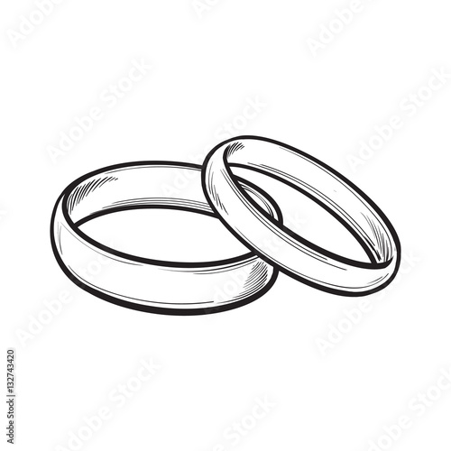 Pair Of Traditional Golden Wedding Rings Sketch Style