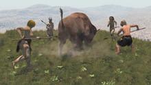Group Of Neandertal Warrios Hunting A Bison, 3d Render
