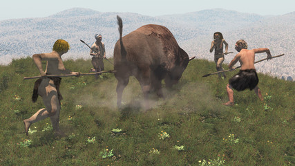 Group of neandertal warrios hunting a bison, 3d render