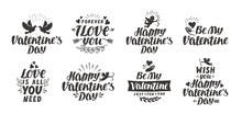 Valentine`s Day Set Labels, Icons And Decorative Elements. Vector Illustration