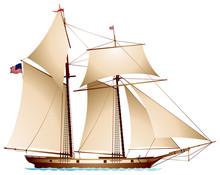 Coasting Schooner Carrying US Flag, Gaff Rigged Schooner, Sailing Vessel Realistic Vector Illustration