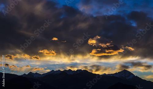 Acrylic Prints Majestic sunset in the winter mountains landscape.