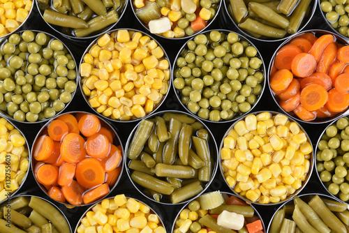 Foto op Plexiglas Groenten Canned Vegetables