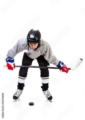 Junior Ice Hockey Player Isolated on White Background Canvas Print