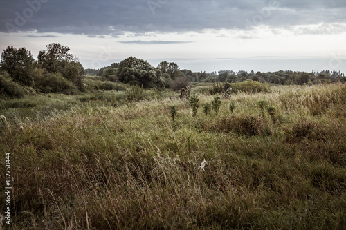 Foto op Canvas Jacht Rural landscape during hunting season with hunters in tall grass in rural field with dramatic sky during dusk