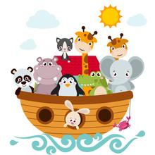 Childish Style Illustration Of Noah's Ark On The Ocean Waves And Full Of Animals Aboard (panda, Penguin, Elephant, Giraffe, Cat, Rabbit, Hippo, Crocodile).